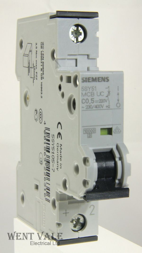 Siemens N System - 5SY5 105-7 - 0.5a Type C Single Pole MCB New in Box